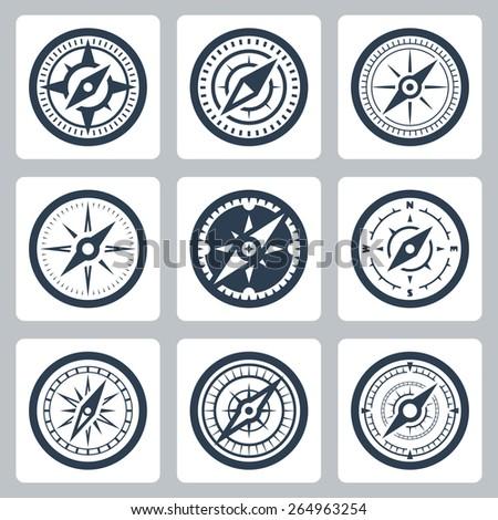 Compasses vector icon set - stock vector
