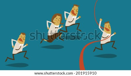 Competition of businessman to success - stock vector