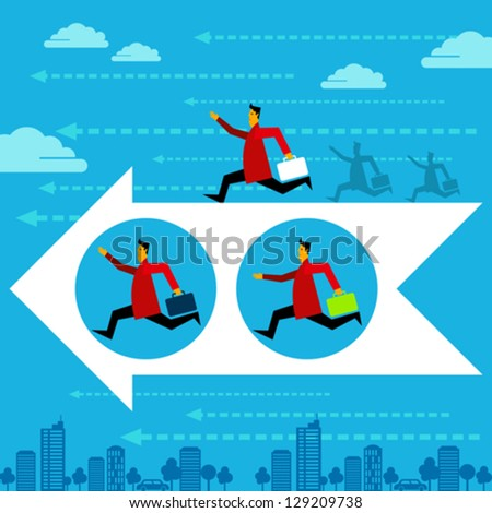 Competition people vector. Running man, winner, business direction, arrow. - stock vector