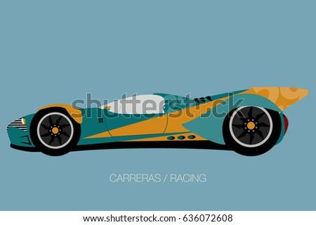 Modern Muscle Car Side View Flat Stock Vector Shutterstock