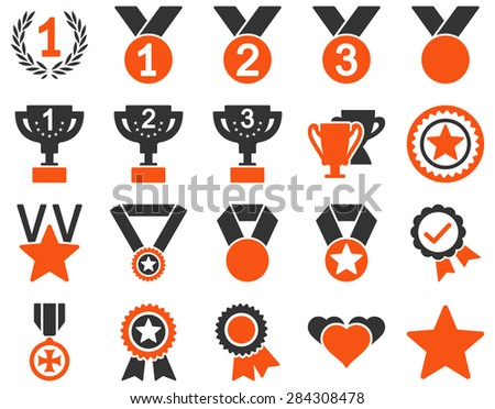 Competition & Success Bicolor Icons. This icon set uses orange and gray colors, rounded angles, white background. - stock vector