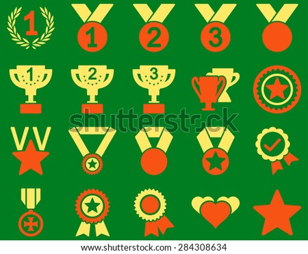 Competition & Success Bicolor Icons. This icon set uses orange and yellow colors, rounded angles, green background. - stock vector
