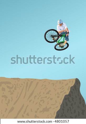 Competitions on dirt jumping. A vector illustration. - stock vector