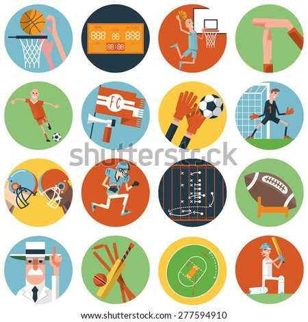 Competitive team sport matches with umpire referee arbiter symbols flat round icons set abstract vector isolated illustration - stock vector