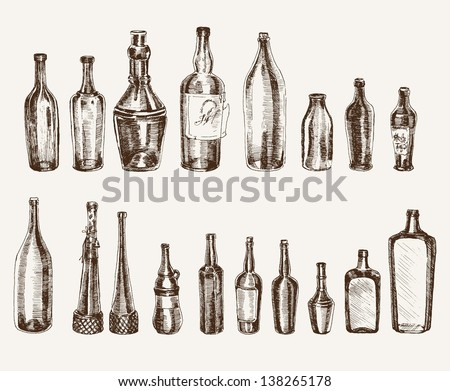 compilation of vector sketches containers for beverages - stock vector