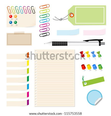complete collection of various type of paper clip on white background. - stock vector