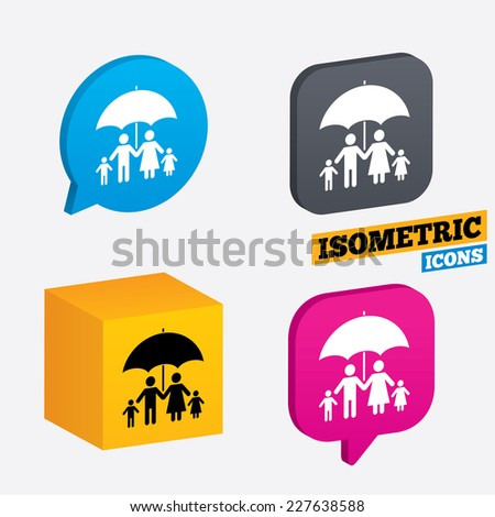Complete family insurance sign icon. Umbrella symbol. Isometric speech bubbles and cube. Rotated icons with edges. Vector - stock vector