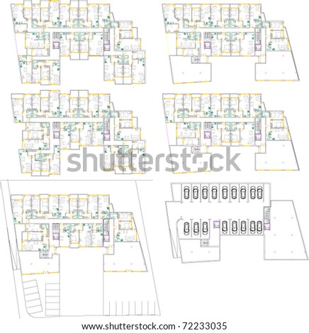 Complete project of building with every floor different - stock vector