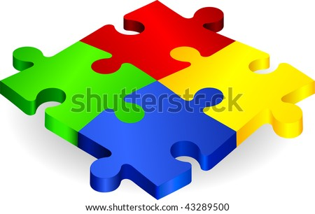 Complete Puzzle on simple Background Original Vector Illustration Complete Puzzle