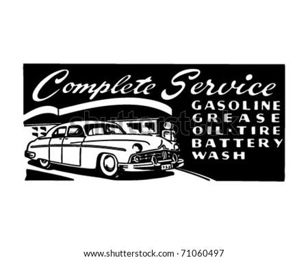 Complete Service - Retro Ad Art Banner - stock vector