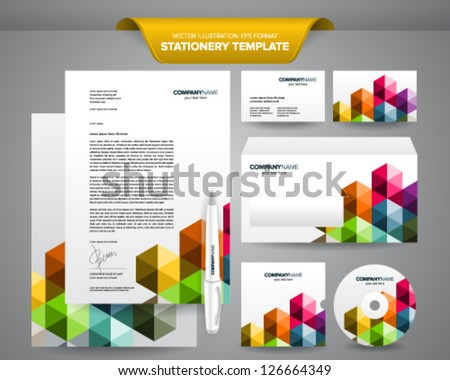 Complete set business stationery template such stock vector royalty complete set of business stationery template such as letterhead envelope business card etc cheaphphosting Gallery