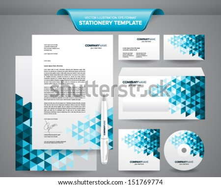 Complete set of business stationery template such as letterhead, envelope, business card, etc. - stock vector