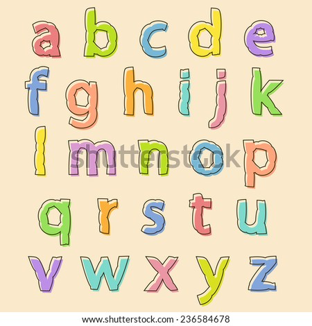 Complete set of colored lowercase alphabet letters with bloated irregular wavy outline for decorative text and scrapbooking, design element