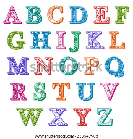 Complete set of colorful antiqua uppercase alphabet letters with floral patterns and drop shadows in the colors of the spectrum, vector design element