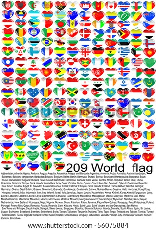 Complete set of Flags hearts of the world sorted alphabetically with official colors - stock vector
