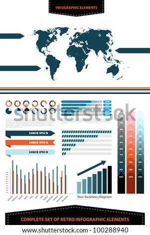 Complete set of retro infographic elements - stock vector