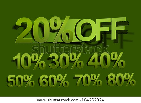 Complete set of sale off green stickers design element. - stock vector