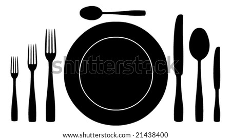 complete set of silverware for dinner in vector design - stock vector