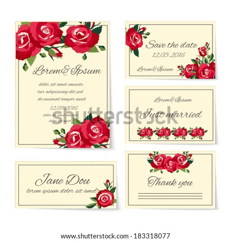 Naming ceremony stock images royalty free images vectors complete set of wedding card templates covering invitation cards thank you just married name place setting stopboris Gallery