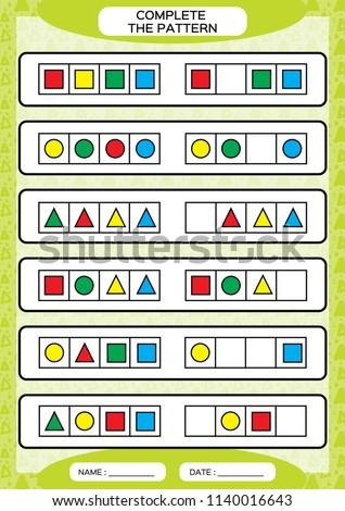 complete simple repeating patterns worksheet preschool stock vector royalty free 1140016643. Black Bedroom Furniture Sets. Home Design Ideas
