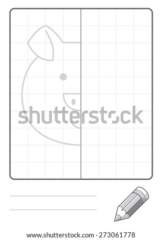 Complete the Symmetrical Drawing: Pig (single page drawing task)