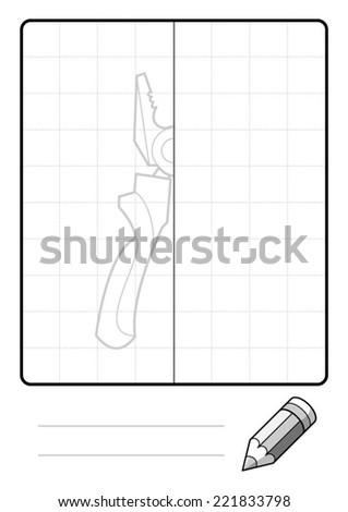 Complete the Symmetrical Drawing: Pliers (one page drawing task) - stock vector