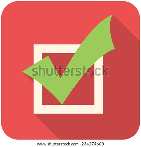 Completed Tasks, modern flat icon with long shadow - stock vector