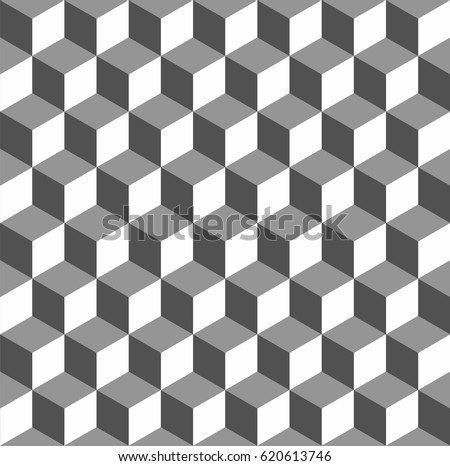 Completely Seamless Abstract Cube Pattern Black And White Geometric 3d Vector Wallpaper