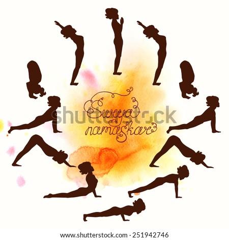 Complex Asanas Surya Namaskar Hatha Yoga Silhouette