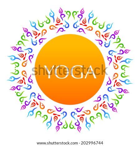 Complex asanas. Yoga. The idea for the sign Yoga - studio. - stock vector
