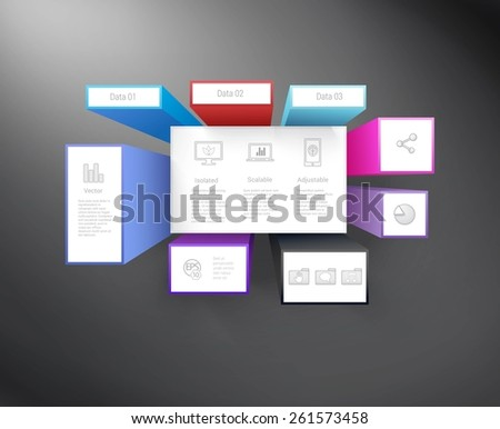Complex Datasheet or Different Info Cubes Advertisement Concept  For Your Design. Computer Technology Icon Symbol Set Included. - stock vector