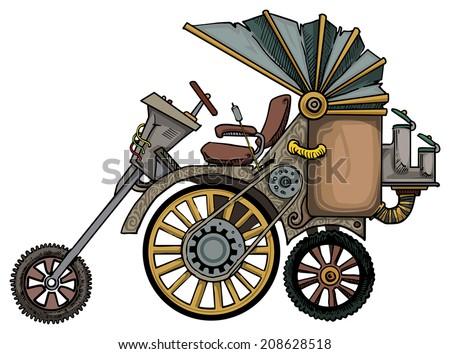 complex fantastic steam engine vehicle, vector illustration - stock vector