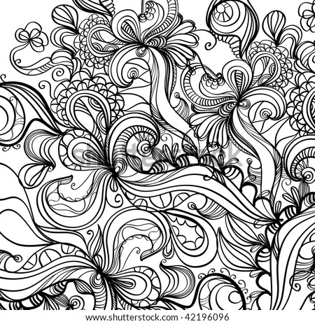 Complex hand-drawn vector decorative doodle background - stock vector