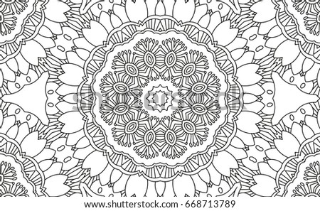 Complex Kaleidoscope Mandala For Coloring Book Black Lines On White Background Abstract Geometric