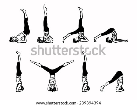 Complex of Inverted Yoga Postures - sketch vector illustration - stock vector