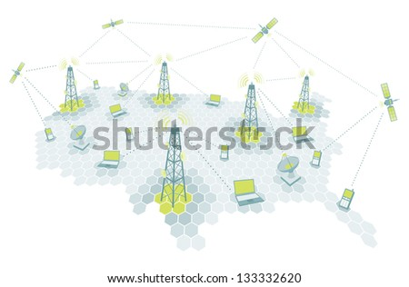 Complex telecomm network / Communication diagram - stock vector