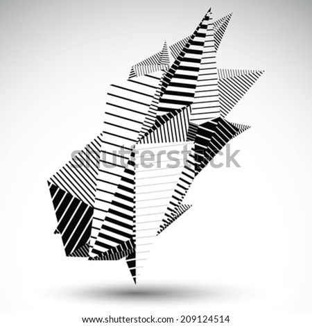 Complicated contrast eps8 figure constructed from triangles with parallel black and white lines. Cybernetic striped sharp element for graphic design. - stock vector