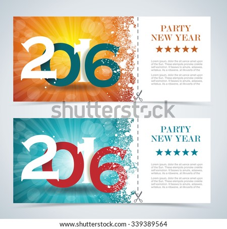 Complimentary ticket to a Christmas and New Year party, various vector design. - stock vector