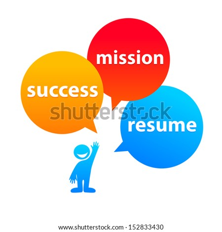 components of success: the desire-resume-mission - stock vector