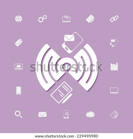 compose and send via wifi connection icons. vector web design