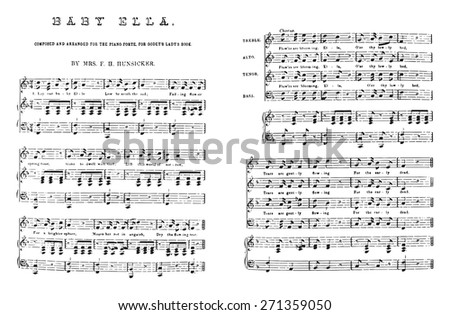 Composed and arranged for the piano-forte, vintage engraved illustration.  - stock vector
