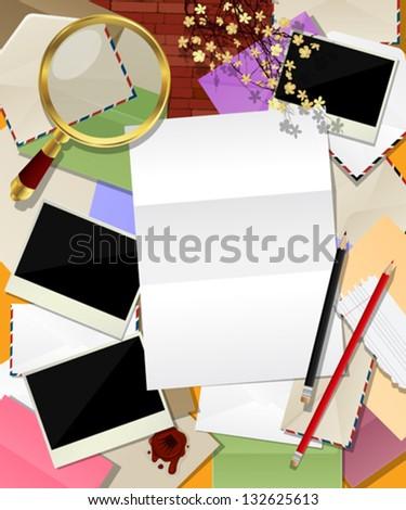 Composing Letter Envelopes Photo Frame Magnifying Stock Vector ...