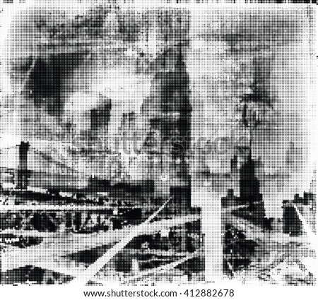 Composite image of New York City. Halftone. Black and white - stock vector