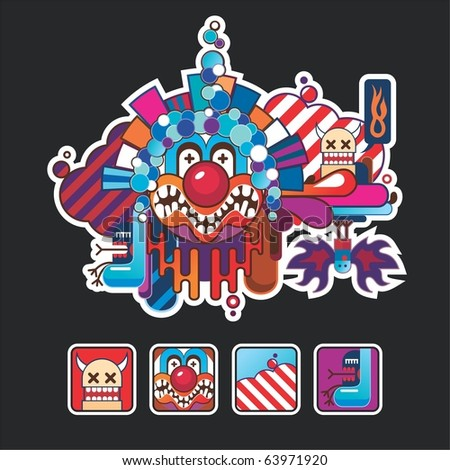 composition and icons with a clown - stock vector
