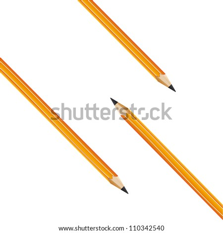composition from three yellow pencils on a white background. Vector - stock vector