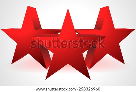 Composition made of 3 3D Red Stars - stock vector
