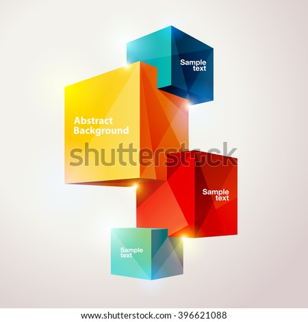 Composition of colorful cubes.  - stock vector