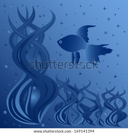 Composition of fish floating around aquatic plants, phantasmagoric hand drawing vector illustration in blue tints