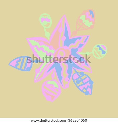 Composition of floral pattern, doodles, leaves, branches, stylized flower, star, zigzag, spots, hole. Hand drawn.