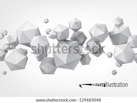Composition of icosahedron for graphic design - stock vector